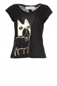 ELISABETTA FRANCHI |  T-shirt with dogprint Louise | black  | Picture 1