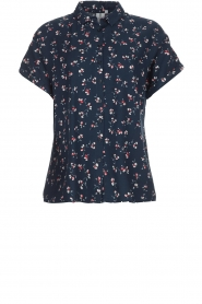 Knit-ted |  Blouse with floral print Gina | blue  | Picture 1