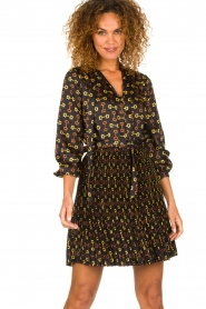Kocca |  Dress with stirrups print Fubi | black  | Picture 2