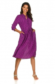 Lolly's Laundry |  Printed dress Sienna | purple  | Picture 3