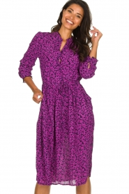 Lolly's Laundry |  Printed dress Sienna | purple  | Picture 4