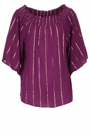 Lolly's Laundry |  Top with lurex details Evan | purple  | Picture 1