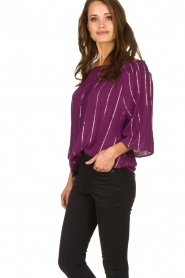 Lolly's Laundry |  Top with lurex details Evan | purple  | Picture 4