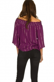 Lolly's Laundry |  Top with lurex details Evan | purple  | Picture 5