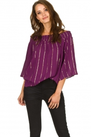 Lolly's Laundry |  Top with lurex details Evan | purple  | Picture 2