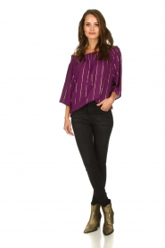 Lolly's Laundry |  Top with lurex details Evan | purple  | Picture 3