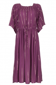 Lolly's Laundry |  Lurex striped dress Gerda | purple  | Picture 1