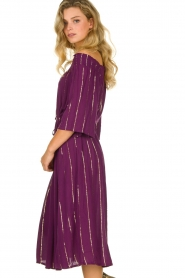 Lolly's Laundry |  Lurex striped dress Gerda | purple  | Picture 5