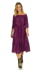 Lolly's Laundry |  Lurex striped dress Gerda | purple  | Picture 3