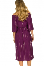 Lolly's Laundry |  Lurex striped dress Gerda | purple  | Picture 6