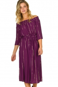 Lolly's Laundry |  Lurex striped dress Gerda | purple  | Picture 4