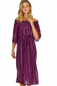 Lolly's Laundry |  Lurex striped dress Gerda | purple  | Picture 2