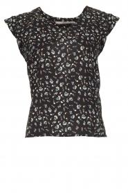 Aaiko |  Floral blouse Deno | black  | Picture 1