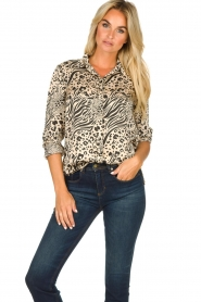 Aaiko |  Animal print blouse Marta | nude  | Picture 2