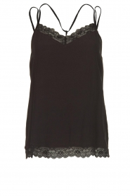 Aaiko |  Sleeveless top with lace Vlint | black  | Picture 1