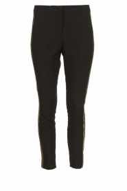 Aaiko |  Trousers with gold coloured side stripes Parien | black  | Picture 1