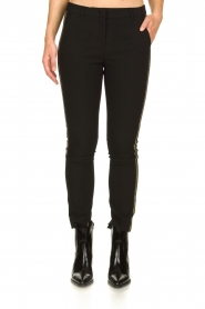 Aaiko |  Trousers with gold coloured side stripes Parien | black  | Picture 4