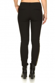 Aaiko |  Trousers with gold coloured side stripes Parien | black  | Picture 5