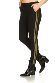 Aaiko |  Trousers with gold coloured side stripes Parien | black  | Picture 2