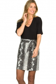 Aaiko |   Faux leather snake print skirt Patia | animal print  | Picture 2
