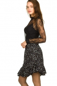 Aaiko |  Floral skirt Sillo | black  | Picture 3