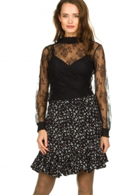 Aaiko |  Floral skirt Sillo | black  | Picture 1