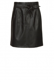 Aaiko |  Faux leather skirt with belt Patia | black  | Picture 1