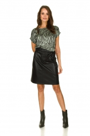 Aaiko |  Faux leather skirt with belt Patia | black  | Picture 3