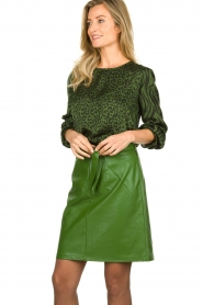 Aaiko |  Faux leather pencilskirt | green  | Picture 4