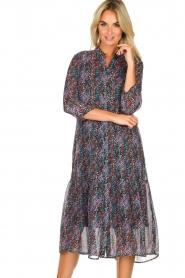 Aaiko |  Animal print midi dress Dione | black  | Picture 2
