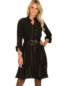 Aaiko | Dress with lurex stripes Vienna | black  | Picture 2