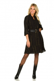 Aaiko | Dress with lurex stripes Vienna | black  | Picture 3