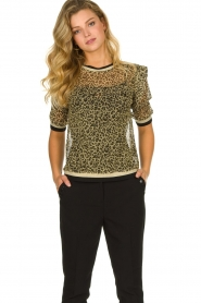 Aaiko |  Leopard print top with lurex Inea | gold  | Picture 2