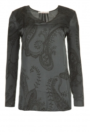 Aaiko |  Blouse with paisley print | grey  | Picture 1