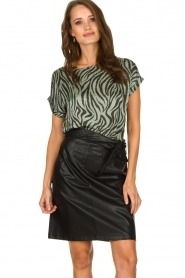 Aaiko |  Top with zebra print Merle | green  | Picture 2