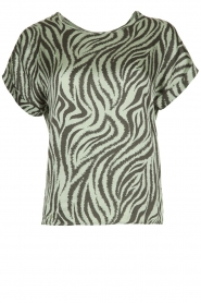 Aaiko |  Top with zebra print Merle | green  | Picture 1