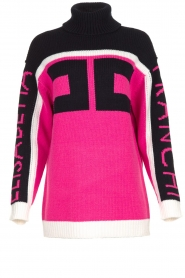 ELISABETTA FRANCHI |  Turtleneck sweater with logo print Eliza | pink  | Picture 1