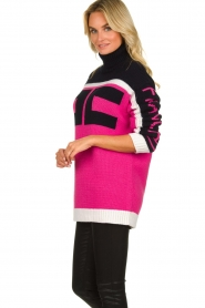 ELISABETTA FRANCHI |  Turtleneck sweater with logo print Eliza | pink  | Picture 4