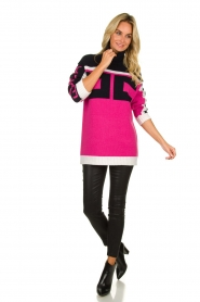 ELISABETTA FRANCHI |  Turtleneck sweater with logo print Eliza | pink  | Picture 3