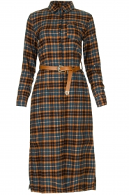 Fracomina |  Checkered dress with belt Donna | brown  | Picture 1