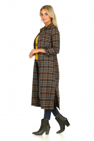 Fracomina |  Checkered dress with belt Donna | brown  | Picture 3