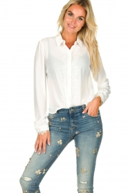 Fracomina | Blouse with lace Josien | white  | Picture 2