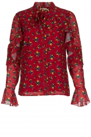 Fracomina |  Floral blouse with ruffles Fenne | red  | Picture 1
