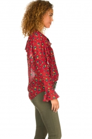 Fracomina |  Floral blouse with ruffles Fenne | red  | Picture 5