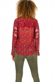 Fracomina |  Floral blouse with ruffles Fenne | red  | Picture 6