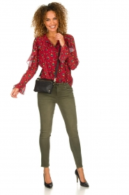 Fracomina |  Floral blouse with ruffles Fenne | red  | Picture 3