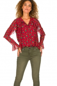 Fracomina |  Floral blouse with ruffles Fenne | red  | Picture 4