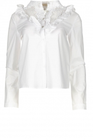 Fracomina | Kanten hals blouse  Mirelle | wit  | Afbeelding 1