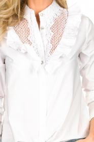 Fracomina | Kanten hals blouse  Mirelle | wit  | Afbeelding 6