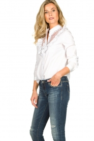 Fracomina | Kanten hals blouse  Mirelle | wit  | Afbeelding 4